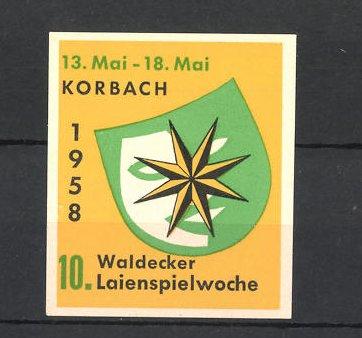 Reklamemarke Korbach, 10. Waldecker Laienspielwoche 1958, Logo mit Stern 0