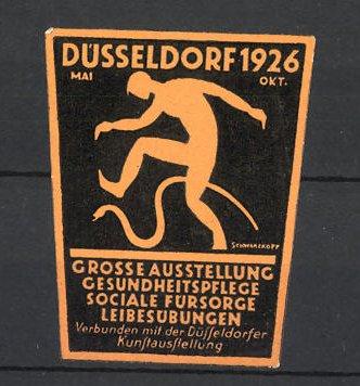 Künstler-Reklamemarke Schwarzkopf, Düsseldorf, Grosse Ausstellung f. Gesundheitspflege 1926, Mann mit Schlange 0