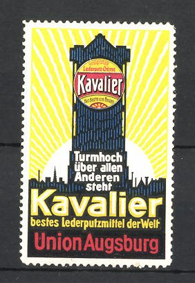 Reklamemarke Kavalier Lederputz-Creme, Union Augsburg, Turm 0