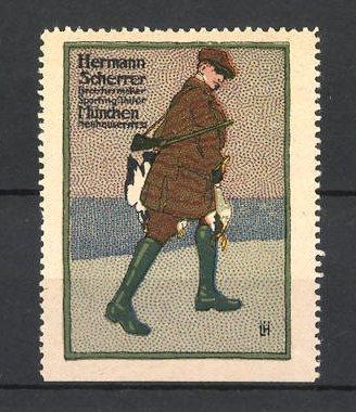 Künstler-Reklamemarke Hermann Scherrer München, Jäger mit Gewehr und toten Vögeln 0