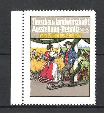 Reklamemarke Trebnitz, Tierschau und landwirtschaftl. Ausstellung 1914, tanzende Bauern