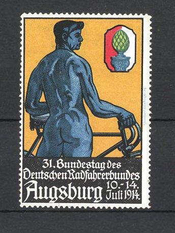 Reklamemarke Augsburg, 31. Bundestag des deutschen Radfahrerbundes 1914, nackter Mann mit Fahrrad 0