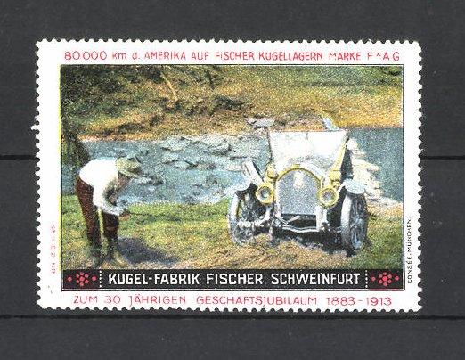 Reklamemarke Kugel-Fabrik Fischer Schweinfurt, Auto am Flussufer
