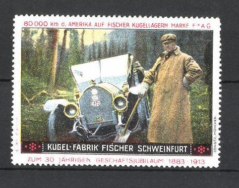 Reklamemarke Kugel-Fabrik Fischer Schweinfurt, edler Herr am alten Auto