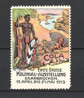 Reklamemarke Saarbrücken, Erste grosse Kolonial-Ausstellung 1913, Afrikaner und Löwen 0
