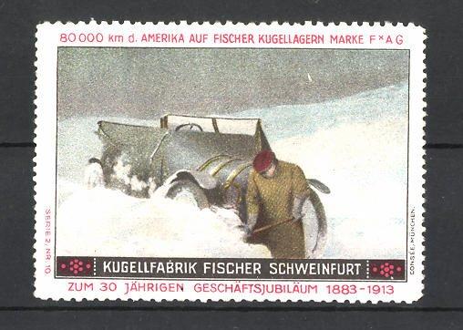 Reklamemarke Kugel-Fabrik Fischer Schweinfurt, im Schnee versunkenes Auto