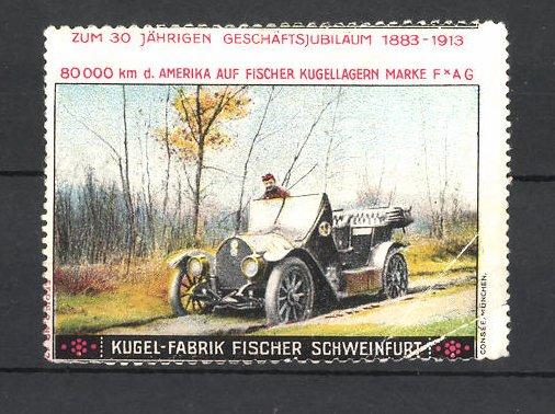 Reklamemarke Kugel-Fabrik Fischer Schweinfurt, Autofahrt am Feldrand