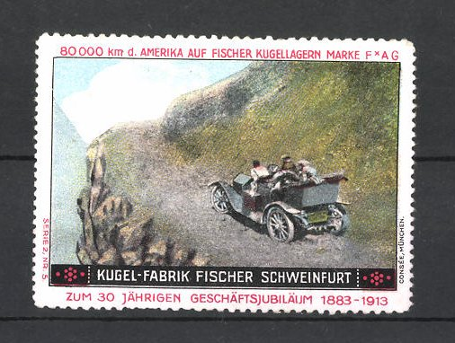 Reklamemarke Kugel-Fabrik Fischer Schweinfurt, Autofahrt im Gebirge