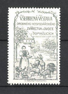 Künstler-Reklamemarke Vseobecna Vystava 1913, Bäuerin füttert Tiere