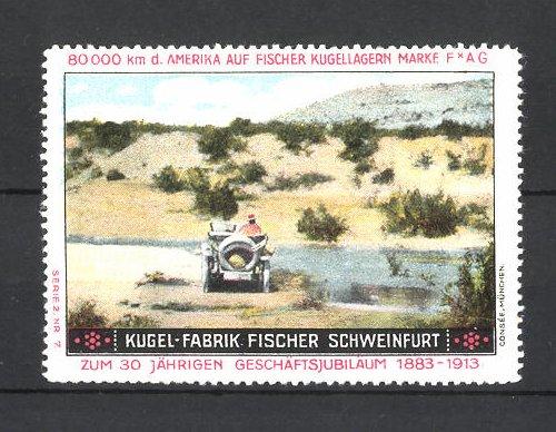 Reklamemarke Kugelfabrik Fischer Schweinfurt, Auto am Flussufer