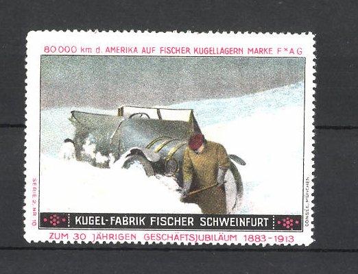 Reklamemarke Kugelfabrik Fischer Schweinfurt, Automobil im Schnee