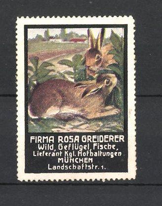 Reklamemarke Firma Rosa Greiderer, Lieferant für Wild, Geflügel und Fische in München, Hasen im Busch