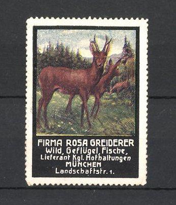 Reklamemarke Firma Rosa Greiderer, Lieferant für Wild, Geflügel und Fische in München, Reh und Rehbock