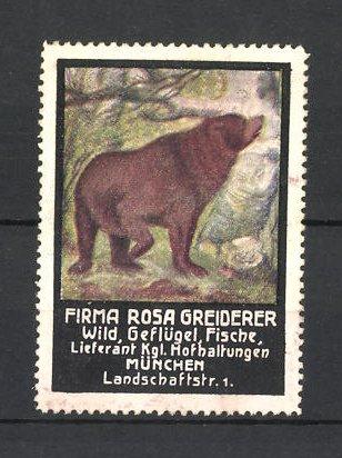 Reklamemarke Firma Rosa Greiderer, Lieferant für Wild, Geflügel und Fische in München, Braunbär 0