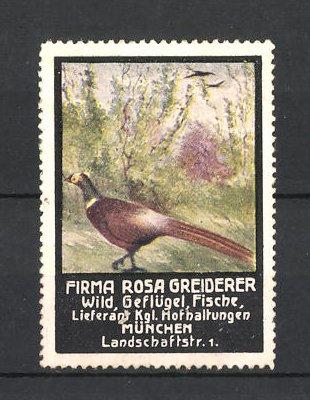 Reklamemarke Firma Rosa Greiderer, Lieferant für Wild, Geflügel und Fische in München, Vogel im Wald