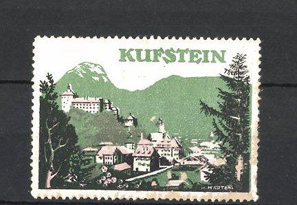 Künstler-Reklamemarke Märtens, Ortsansicht von Kufstein 0