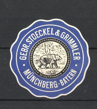Reklamemarke Gebr. Stoeckel & Grimmer, Münchberg in Bayern, Braunbär 0