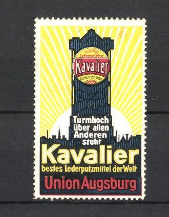 Reklamemarke Kavalier, bestes Lederputzmittel der Welt, Firma Union in Augsburg, Turmansicht 0