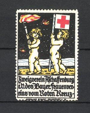 Reklamemarke Rotes Kreuz, Zweigverein Aschaffenburg e. V. des Bayr. Frauenvereins, nackte Kinder mit Fackel & Flagge