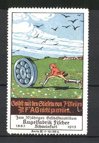Reklamemarke Kugelfabrik Fischer, Schweinfurt, 30 jähriges Geschäftsjubiläum 1883-1913, Mann rennt Kugellager hinterher