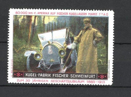 Reklamemarke Kugelfabrik Fischer in Schweinfurt, Mann steht am Automobil