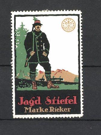 Reklamemarke Jagd Stiefel der Marke Rieker, Jäger mit Gewehr