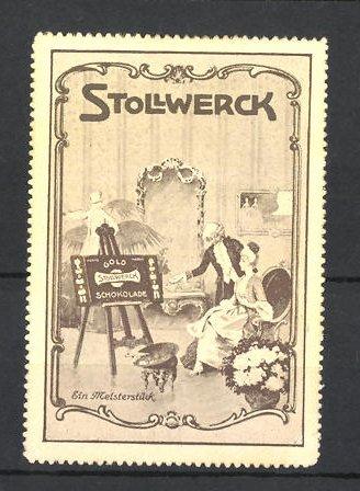 Reklamemarke Stollwerck-Gold Schokolade, barocke Herrschaften mit grosser Schokoladentafel auf Staffelei