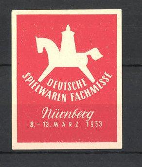 Reklamemarke Nürnberg, Deutsche Spielwaren-Fachmesse 1953, Messelogo Schaukelpferd