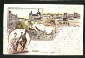 Lithographie Mannheim, Schillerplatz, Neckarbrücke und Planken, Paar auf einem Tandem (Fahrrad)
