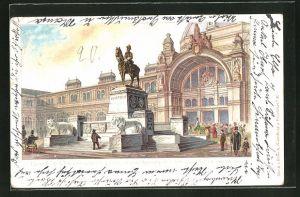 Lithographie Nürnberg, Bahnhof und Denkmal des Prinzregenten Luitpold von Bayern