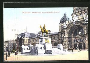 AK Nürnberg, Blick auf Hauptbahnhof und Prinzregenten-Denkmal