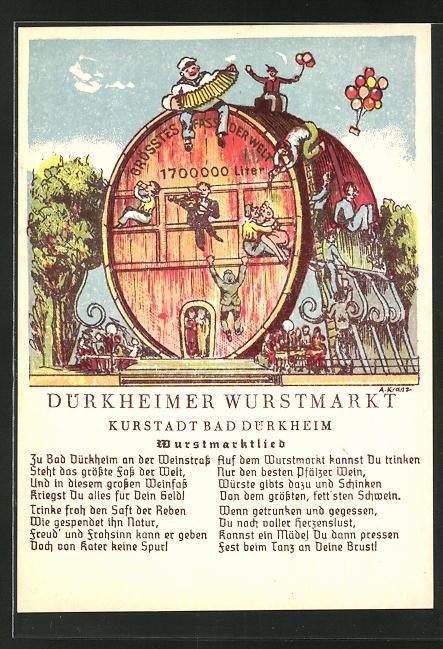 Künstler-AK Bad Dürkheim, Volksfest Dürkheimer Wurstmarkt, Wurstmarktlied