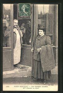 AK Paris Nouveau, Les Femmes Cocher, Kutscherin Mme. Charnier au dèpart