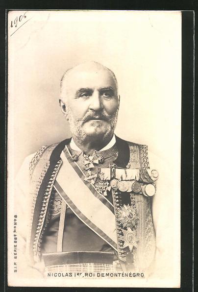 AK Nicolas I., König von Montenegro in Uniform mit Orden