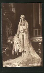 AK Portrait Prinzessin Astrid von Schweden im Hochzeitskleid