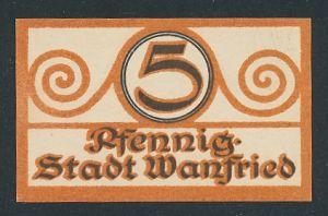 Notgeld Wanfried, 5 Pfennig, Siegel der Stadt