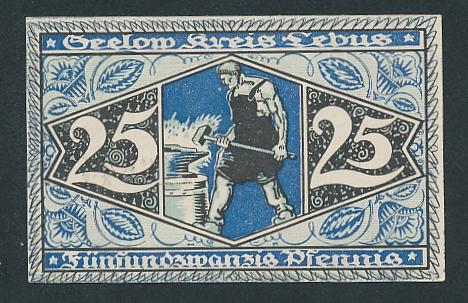 Notgeld Seelow 1920, 25 Pfennig, Schmied am Amboss und Wappen