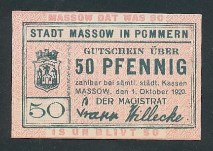 Notgeld Massow in Pommern 1920, 50 Pfennig, Stadtwappen