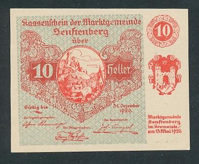 Notgeld Senftenberg 1920, 10 Heller, Ortsansicht und Wappen