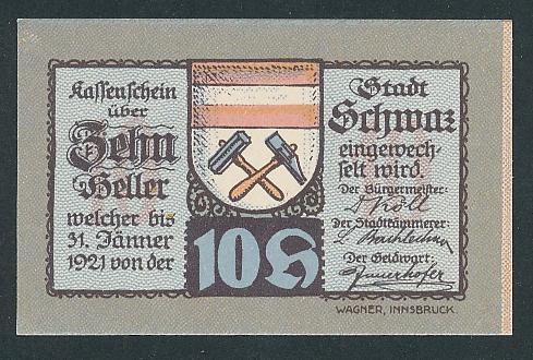 Notgeld Schwaz in Tirol 1921, 10 Heller, Edelweiss und Frauen, Stadtwappen