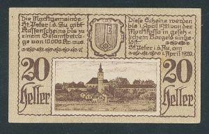Notgeld St. Peter i.d. Au 1920, 20 Heller, Ortsansicht