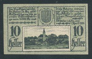 Notgeld St. Peter i.d. Au 1920, 10 Heller, Ortsansicht