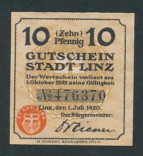 Notgeld Linz 1920, 10 Pfennig, Ortsansicht und Wappen