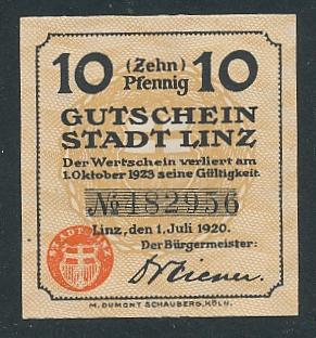 Notgeld Linz 1920, 10 Pfennig, alter Turm und Wappen