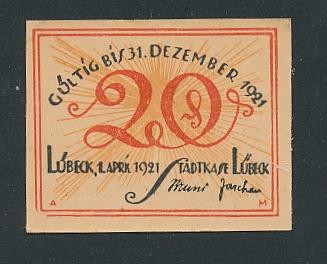 Notgeld Lübeck 1921, 20 Pfennig, aus Ei schlüpfender Adler
