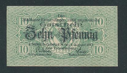 Notgeld Emmendingen 1917, 10 Pfennig, Stadtwappen