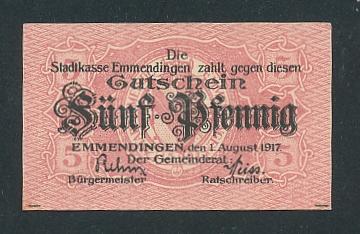 Notgeld Emmendingen 1917, 5 Pfennig, Stadtwappen