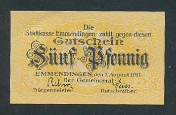 Notgeld Emmendingen 1917, 5 Pfennig