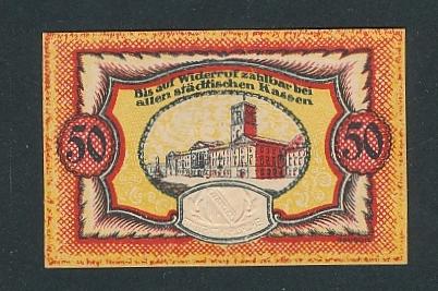 Notgeld Karlsruhe 1920, 50 Pfennig, Rathaus und geprägtes Wappen