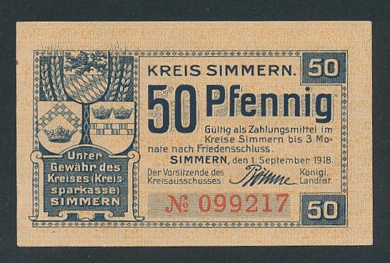 Notgeld Simmern 1918, 50 Pfennig, Gemünden, Castellaun, Wappen